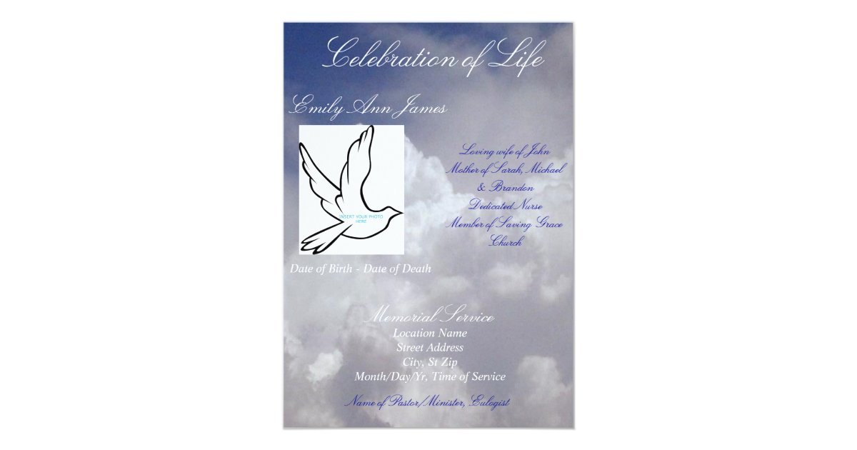 Celebration of life funeral invitationprogram card zazzle stopboris Image collections