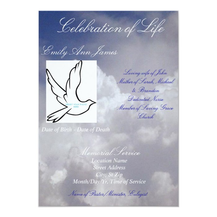 Celebration of Life Funeral Invitation/Program Card | Zazzle