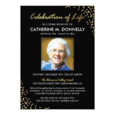Celebration of Life | Funeral Memorial Black Gold Invitation