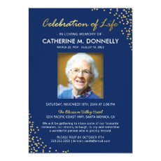 Celebration of Life | Funeral Memorial Blue Gold Invitation