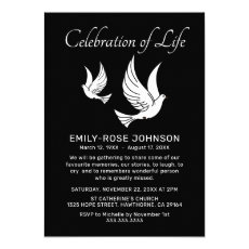 Celebration of Life | Funeral Memorial Doves Invitation