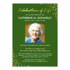 Celebration of Life | Funeral Memorial Green Gold Invitation