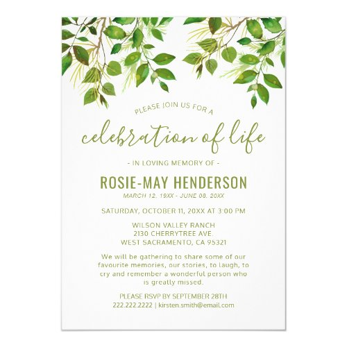 Celebration of Life  Funeral Memorial Nature Invitation