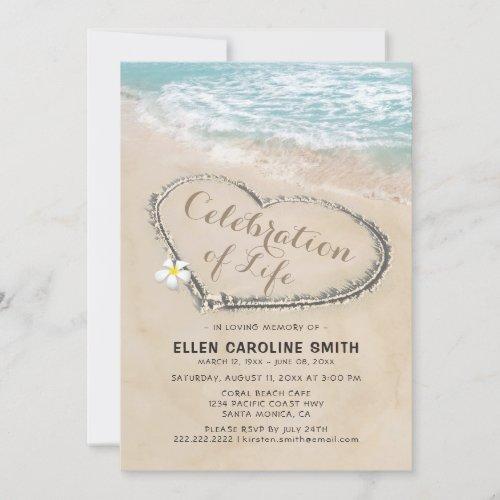 Celebration of Life  Funeral Memorial Ocean Invitation