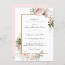 Celebration of Life Funeral Memorial Pink Floral Invitation
