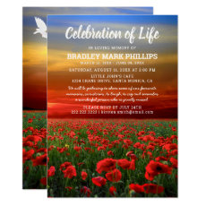 Celebration of Life | Funeral Memorial Poppy Field Invitation