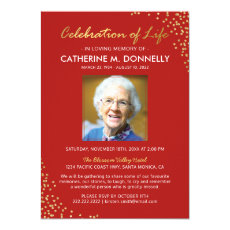 Celebration of Life | Funeral Memorial Red Gold Invitation