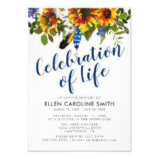 Celebration of Life | Funeral Memorial Sunflowers Invitation