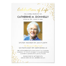 Celebration of Life | Funeral Memorial White Gold Invitation