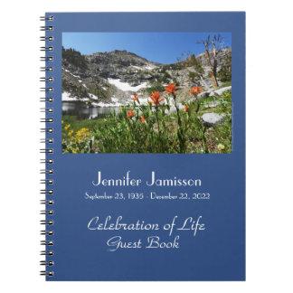 Celebration of Life Guest Book Alpine Wildflowers Spiral Notebook