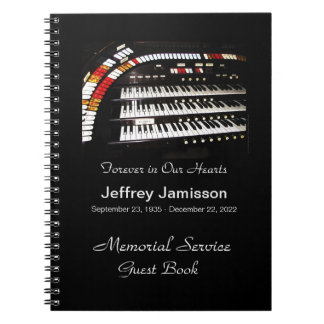 Celebration of Life Guest Book, Antique Organ Notebook