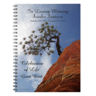Celebration of Life Guest Book Bonsai Tree in Zion Spiral Notebook