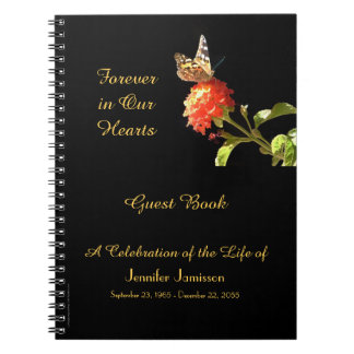 Celebration of Life Guest Book Butterfly on Flower Notebook
