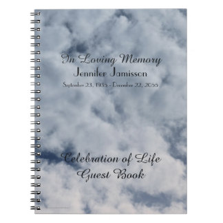 Celebration of Life Guest Book, Clouds Spiral Notebook