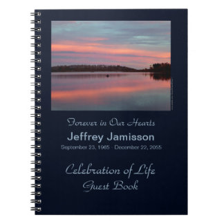 Celebration of Life Guest Book Fisherman at Sunset Notebook