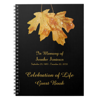 Celebration of Life Guest Book Leaves w/ Raindrop