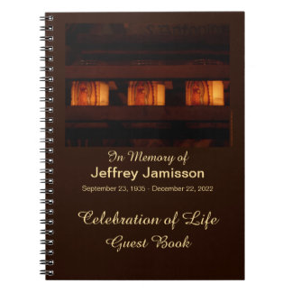 Celebration of Life Guest Book, Memorial Candles Notebook