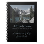 Celebration of Life Guest Book, Mountains Lake Notebook
