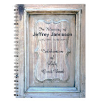 Celebration of Life Guest Book, Old Wooden Door Notebook