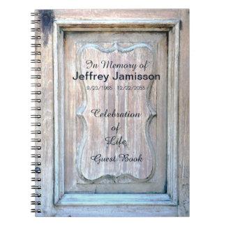 Celebration of Life Guest Book, Old Wooden Door Notebook