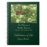 Celebration of Life Guest Book, Orange Butterfly Spiral Notebook
