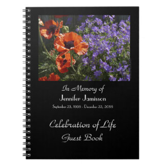 Celebration of Life Guest Book, Orange Poppies Spiral Notebook