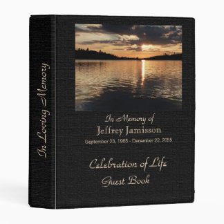 Celebration of Life Guest Book, Sunset at Lake Mini Binder