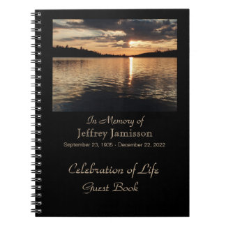 Celebration of Life Guest Book, Sunset at Lake Spiral Notebook