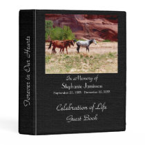 Celebration of Life Guest Book, Three Horses Mini Binder