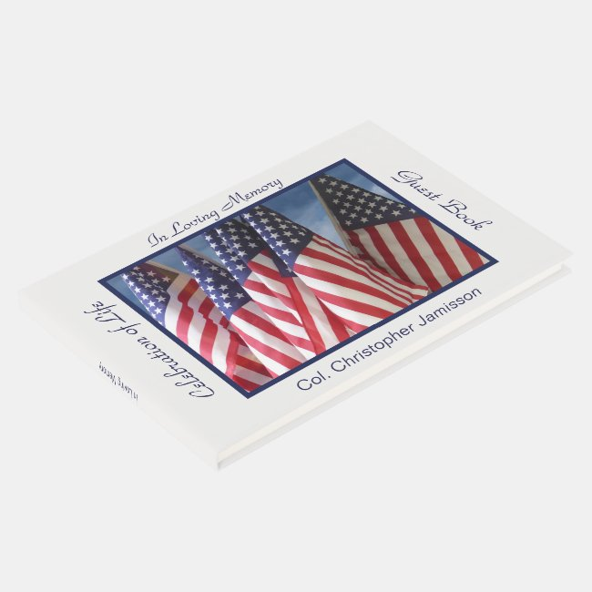 Celebration of Life Guest Book, USA American Flags