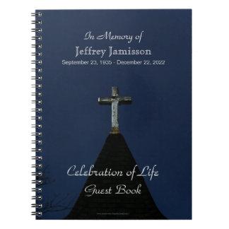 Celebration of Life Guest Book, Vintage Cross Spiral Notebook