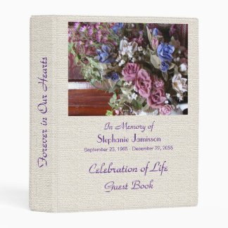 Celebration of Life Guest Book, Vintage Flowers Mini Binder