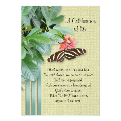 "Celebration of life Invitation 5"" X 7"" Invitation Card | Zazzle"