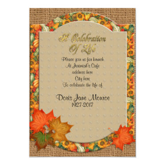 Celebration of life Invitation Autumn theme