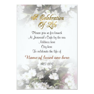 Celebration of life Invitation babies breath