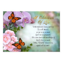 Celebration of life Invitation butterflies