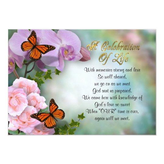 Celebration of life Invitation butterflies
