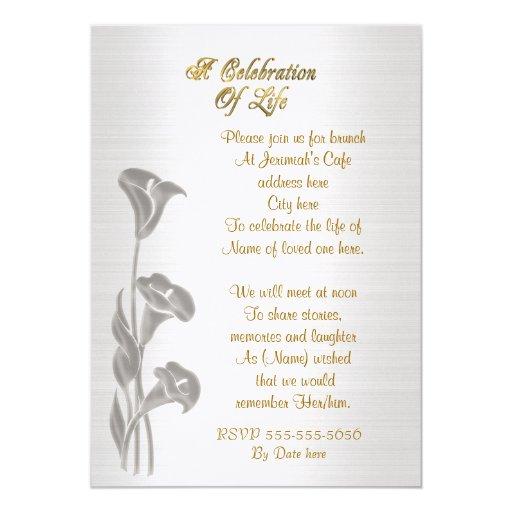 Celebration of life Invitation Calla lilies | Zazzle
