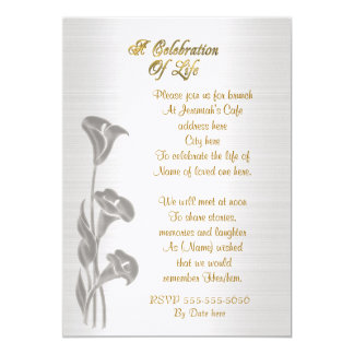 Celebration of life Invitation Calla lilies