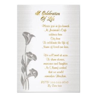Celebration of life Invitation Calla lilies