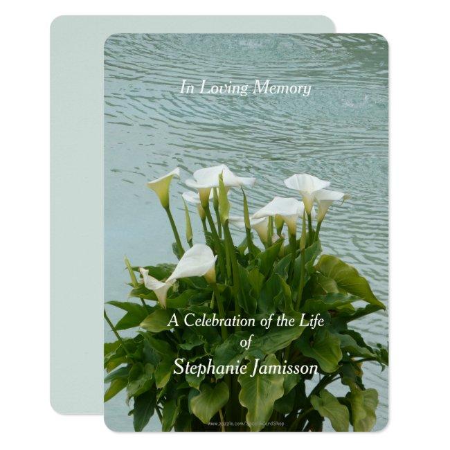 Celebration of Life Invitation Calla Lilies Floral