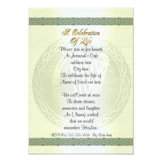 Celebration of life Invitation Celtic Knot Irish