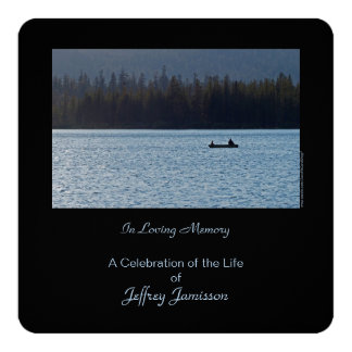 "Celebration of Life Invitation, Fishermen, Square 5.25"" Square Invitation Card"