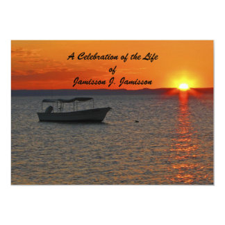 Celebration of Life Invitation Fishing Boat Sunset