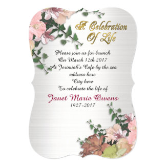 Celebration of life Invitation flowers and Ivy