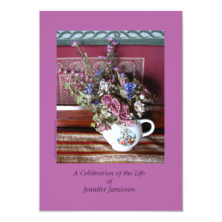 Celebration of Life Invitation, Flowers in Teapot Card