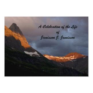 "Celebration of Life Invitation, Glacier Sunrise 5"" X 7"" Invitation Card"