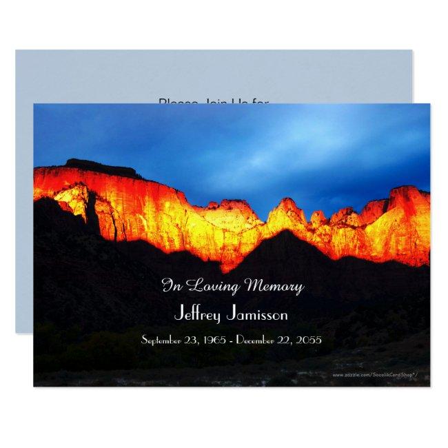 Celebration of Life Invitation Glowing Sunrise