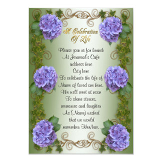 "Celebration of life Invitation hydrangea 5"" X 7"" Invitation Card"
