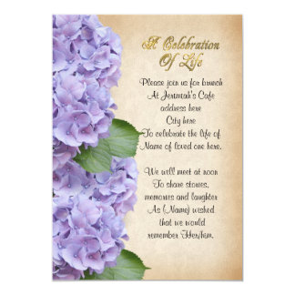 Celebration of life Invitation hydrangea